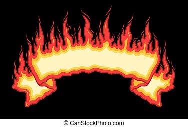 bannière, brûler, flammes