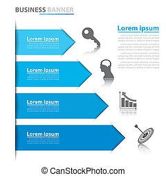 bannière, business, flèche, infographics