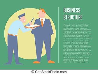bannière, business, structure, gens