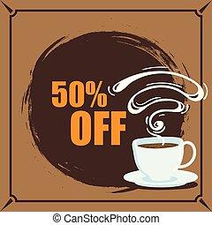 bannière, café, 50%, fermé, vecteur, image