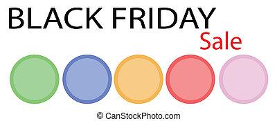 bannière, cercle, vendredi, noir, étiquette