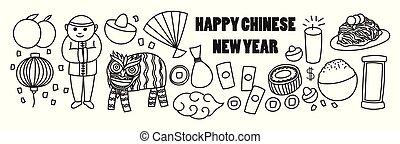 bannière, chinois, année, nouveau, dessin animé, doodles, heureux