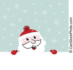 bannière, ciel, neiger, hiver, fond, santa, -, vecteur