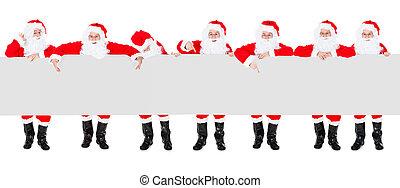 bannière, claus, groupe, santa, affiche