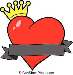 bannière, coeur, royal