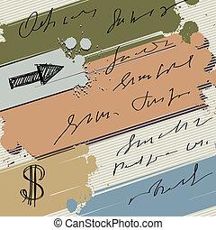 bannière, coloré, éclaboussure, dollar, fond, vecteur, croquis, flèche, encre