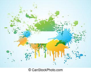 bannière, coloré, aquarelle, résumé