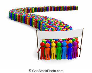 bannière, coloré, foule
