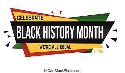 bannière, conception, noir, histoire, mois