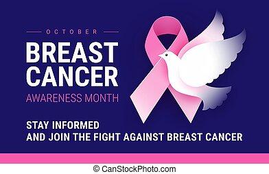bannière, conscience, poitrine, octobre, mois, cancer