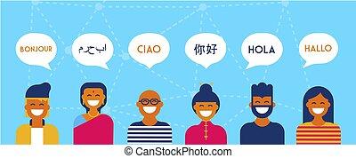 bannière, conversation, concept, divers, langue
