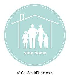 bannière, coronavirus., protéger, séjour, maison, stimuler, vous-même, vous