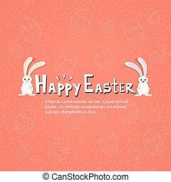 bannière, couple, lapin, joyeuses pâques, vacances, lapin, croquis, oeufs