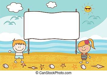 bannière, couple, plage, enfants, heureux