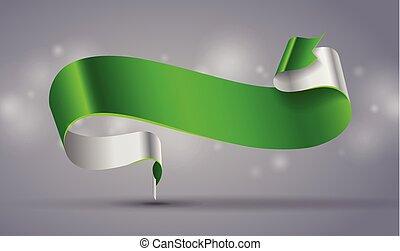 bannière courbe, vert, ruban, ou