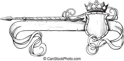 bannière, couronne, lance