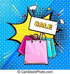 bannière, crosse, achats, coloré, sacs
