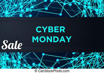 bannière, cyber, technologie, vente, lundi