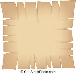 bannière, déchiré, carrée, beige