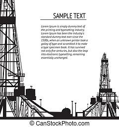 bannière, derrick, huile, text., ton