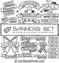 bannière, dessiné, main, étiquette, icônes