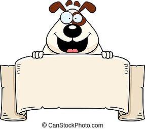 bannière, dessin animé, chien