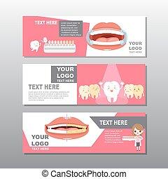 bannière, dessin animé, dent