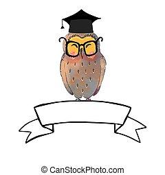 bannière, diplômé, hibou, sage, casquette, ruban
