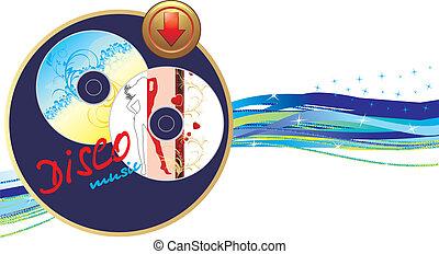 bannière, disque, musique, deux, button.