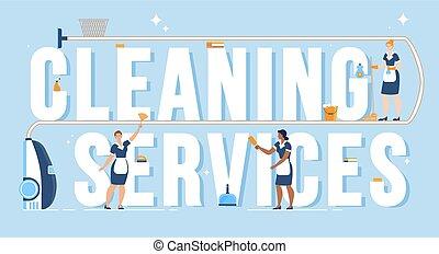 bannière, emmagasiner nettoyage, annonce, vecteur, plat, compagnie