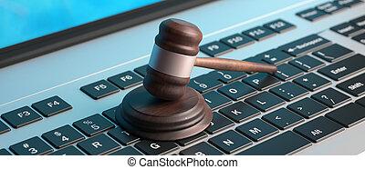bannière, enchère, illustration, marteau, informatique, ligne, clavier, droit & loi, 3d
