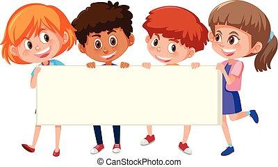 bannière, enfants, tenue, balank