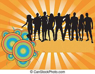 bannière, -, fête, foule, gens, silhouettes