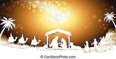 bannière, famille, ciel, saint, roi, hommes sages, doré