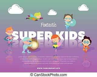 bannière, fantastique, gosses, super, enfants