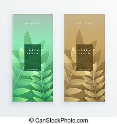 bannière, feuilles, mettez stylique, vertical