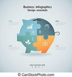 bannière, finance, options, infographics