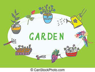 bannière, fleurs, jardinage, instruments