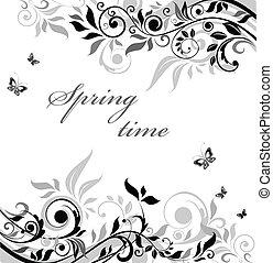 bannière florale, blanc, noir