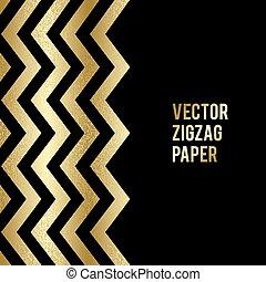 bannière, gabarit, zigzag, résumé, or, fond, shapes., design.