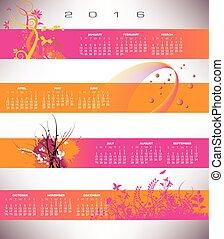 bannière, grunge, calendrier, floral, 2016