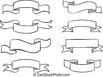 bannière, hand-drawn, gribouiller, rouleau, vendange