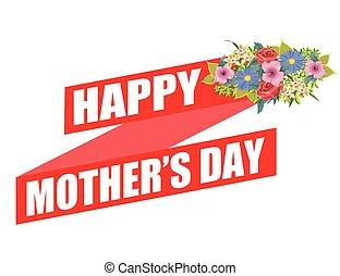 bannière, heureux, conception, jour, mères