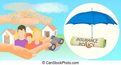 bannière, horizontal, style, dessin animé, assurance