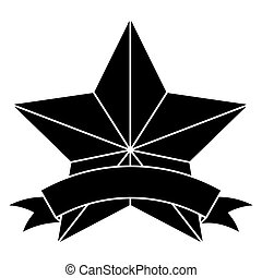 bannière, image, emblème, étoile, icône