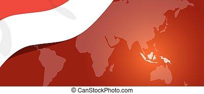 bannière, indonésie, patriotisme, emplacement, mondiale, drapeau, teplate, rouges, carte, blanc