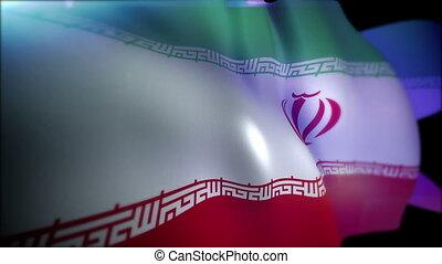 """bannière, islamique, """"waving, drapeau tricolore, iran"""""""