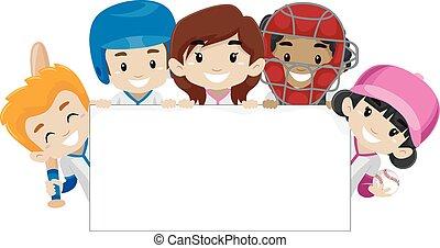 bannière, joueurs, base-ball, tenue