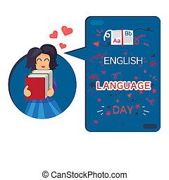 bannière, jour, langue, anglaise