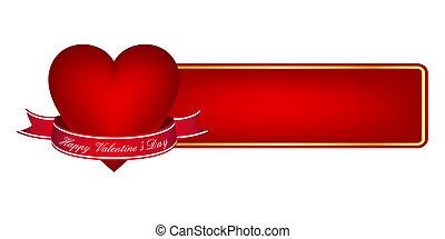 bannière, jour, valentine